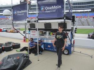 Elliott Sadler's pit crew stand