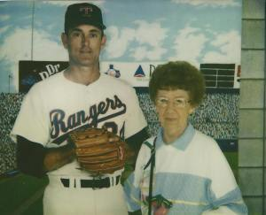 Mom posing by Nolan Ryan cutout.