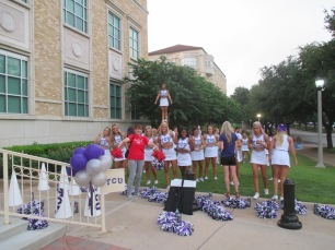 Photbombing the TCU Cheerleaders!