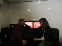 Interviewing in his hauler