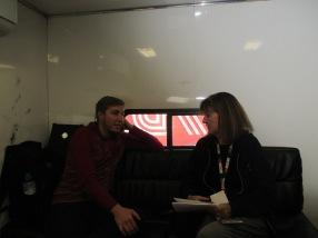 Interviewing in his hauler